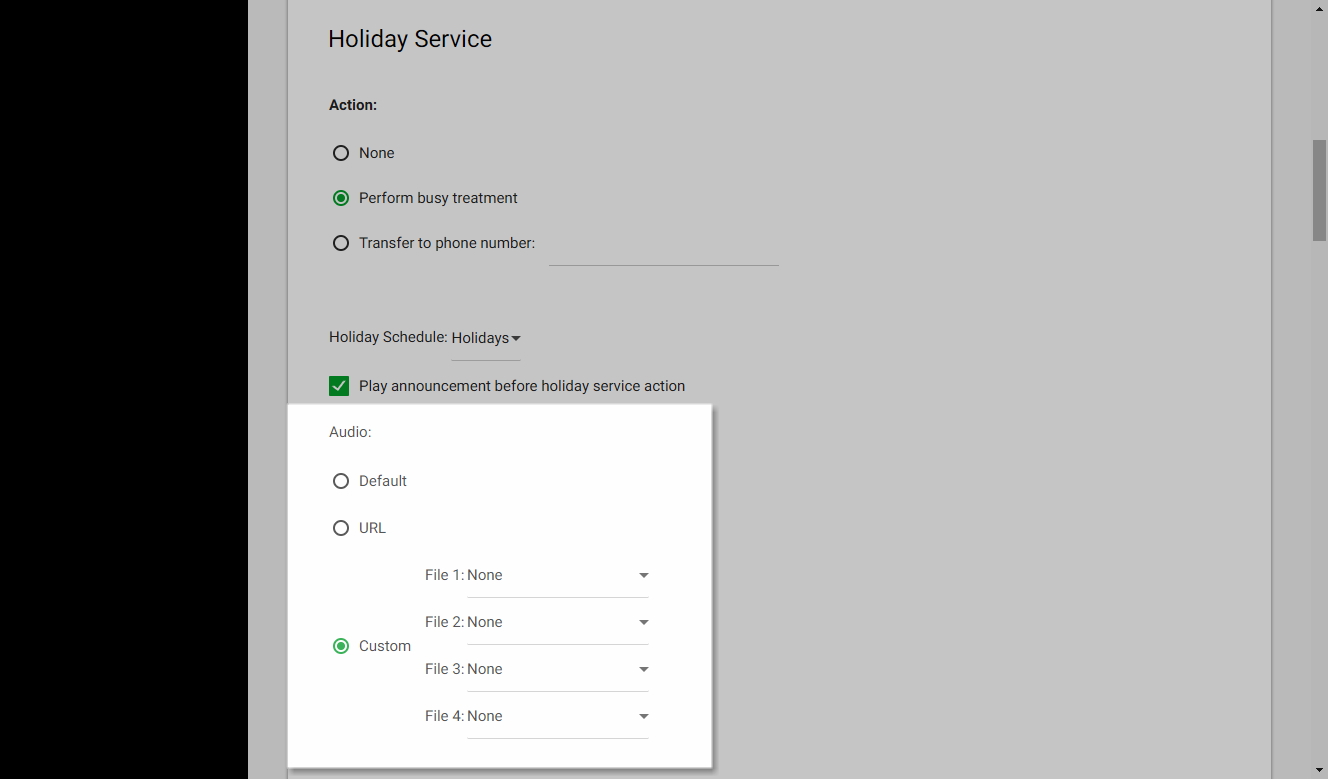 Screenshot of the Call Center Routing Policies window in UCEP with the audio settings for Holiday Service highlighted.