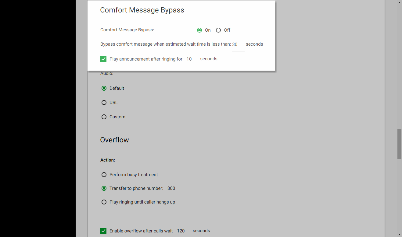 Screenshot of the Call Center Routing Policies window in UCEP with Comfort Bypass settings highlighted.
