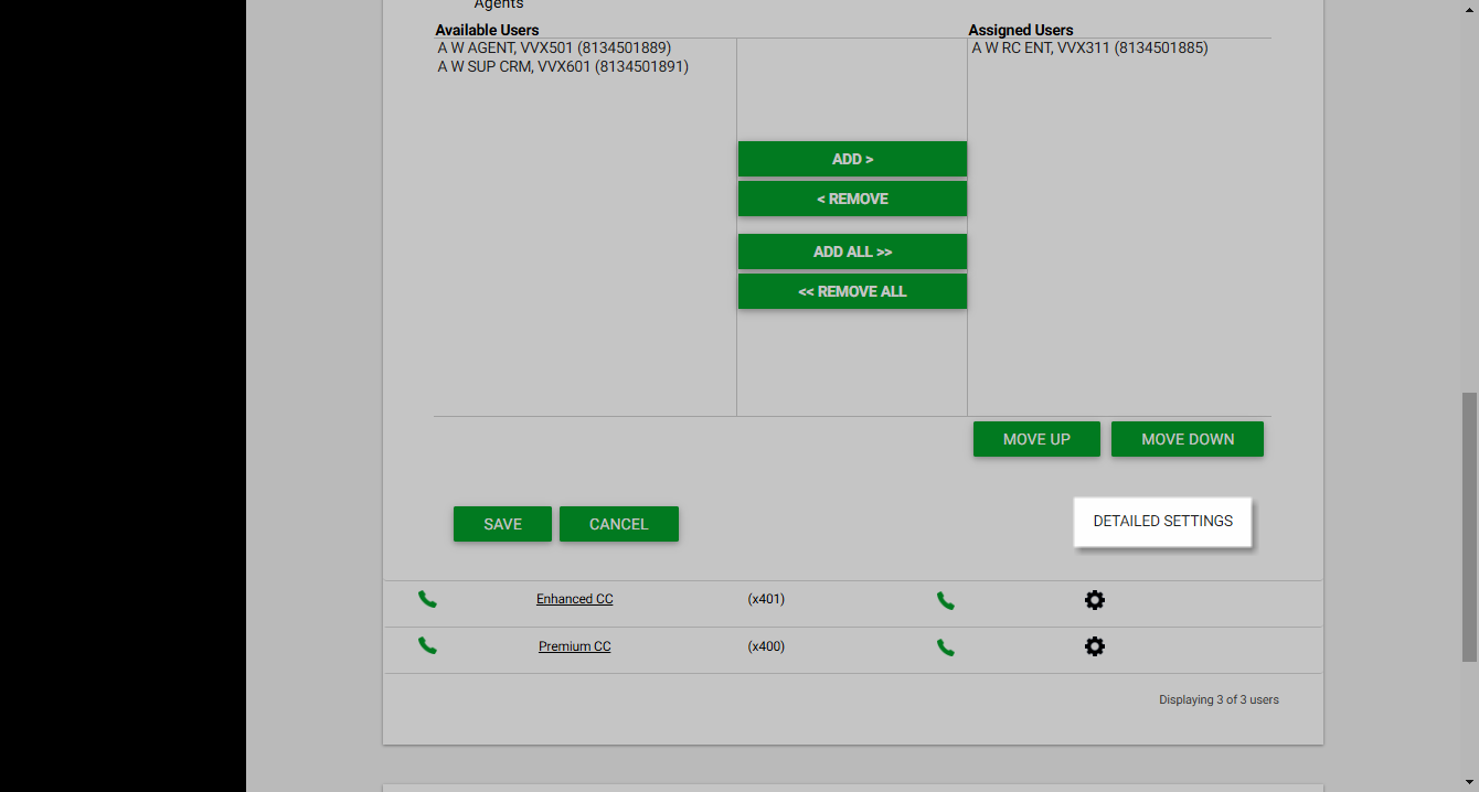 Screenshot of the Dashboard in UCEP with the Detailed Settings link highlighted under Call Centers.