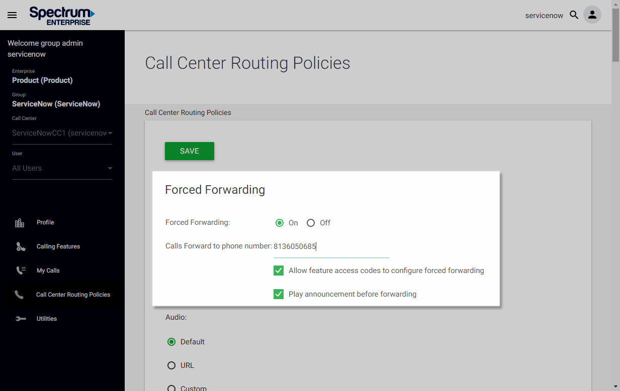 Screenshot of the Call Center Routing Policies window in UCEP with Forced Forwarding settings highlighted.