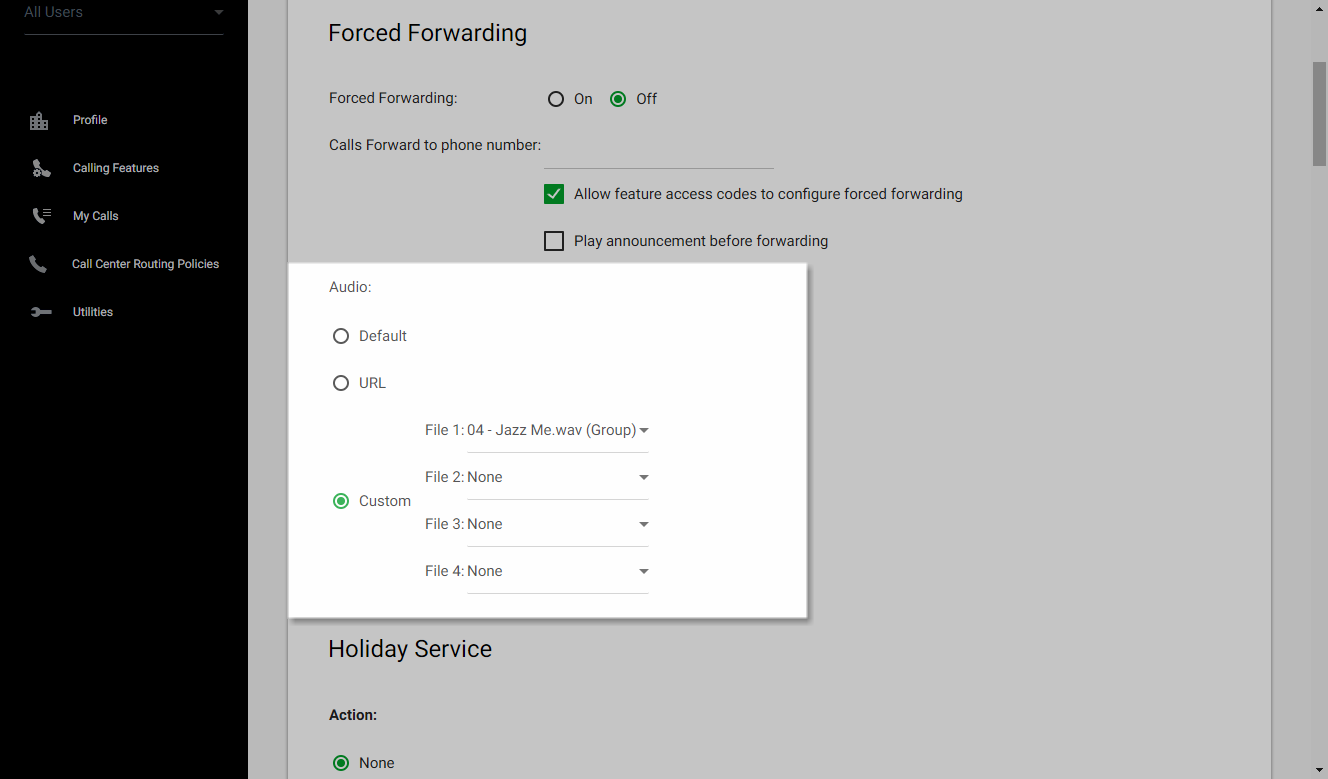 Screenshot of the Call Center Routing Policies window in UCEP with the audio settings for Forced Forwarding highlighted.