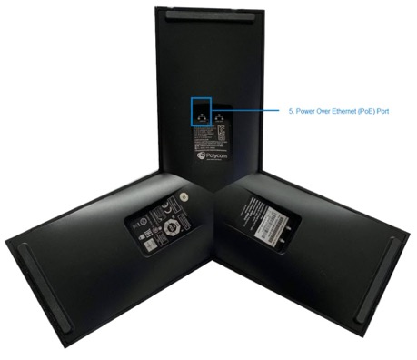 This image displays the Power Over Ethernet Port of the Polycom TRIO 8800 - Image opens in full resolution in a new tab.